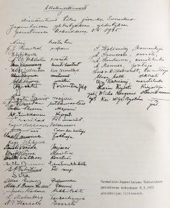 SJY perustava kokous allekirjoitukset